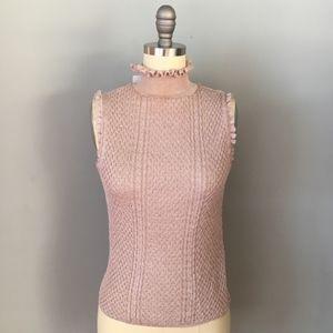 NWT Zara Ruffled Blush Pink Turtleneck Top